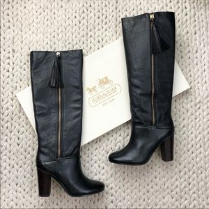 New Coach Therese Black Heeled Leather Boots